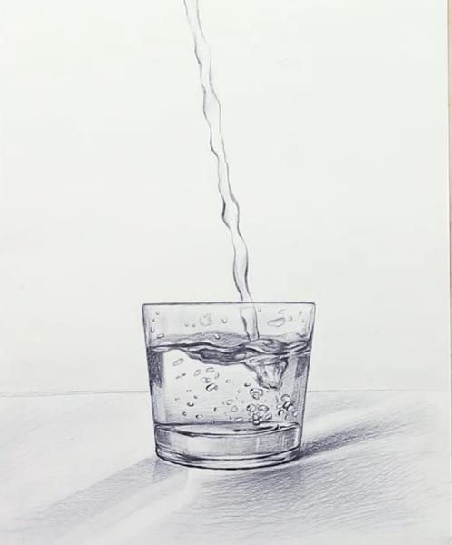 可以发一下玻璃杯与水的完成图么?图片
