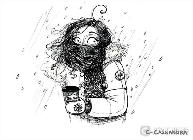 手绘女生头像侧面冬季
