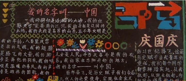 2016年国庆节黑板报:我的名字是中国!