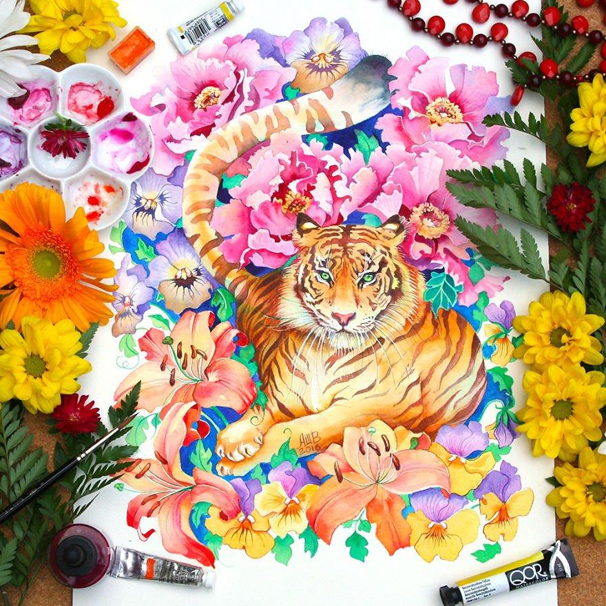 十二生肖水彩画,美到窒息!
