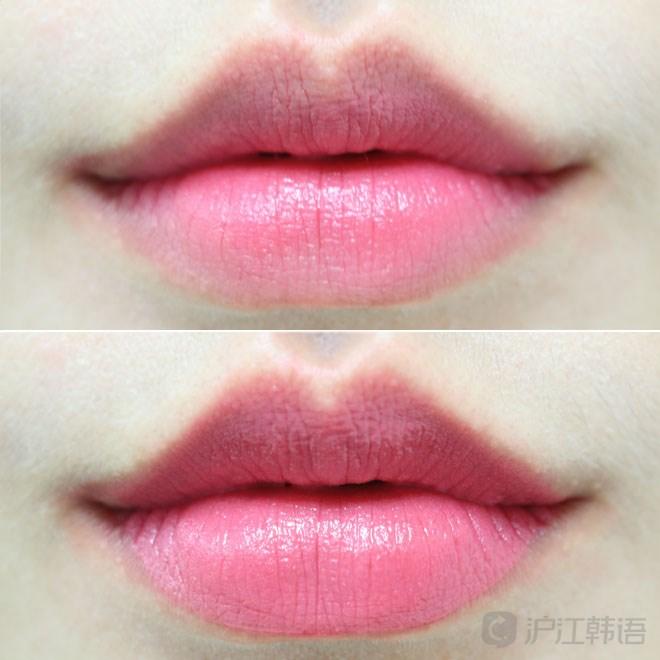 上图是咬唇涂法,下图是沿着唇线全色涂法.