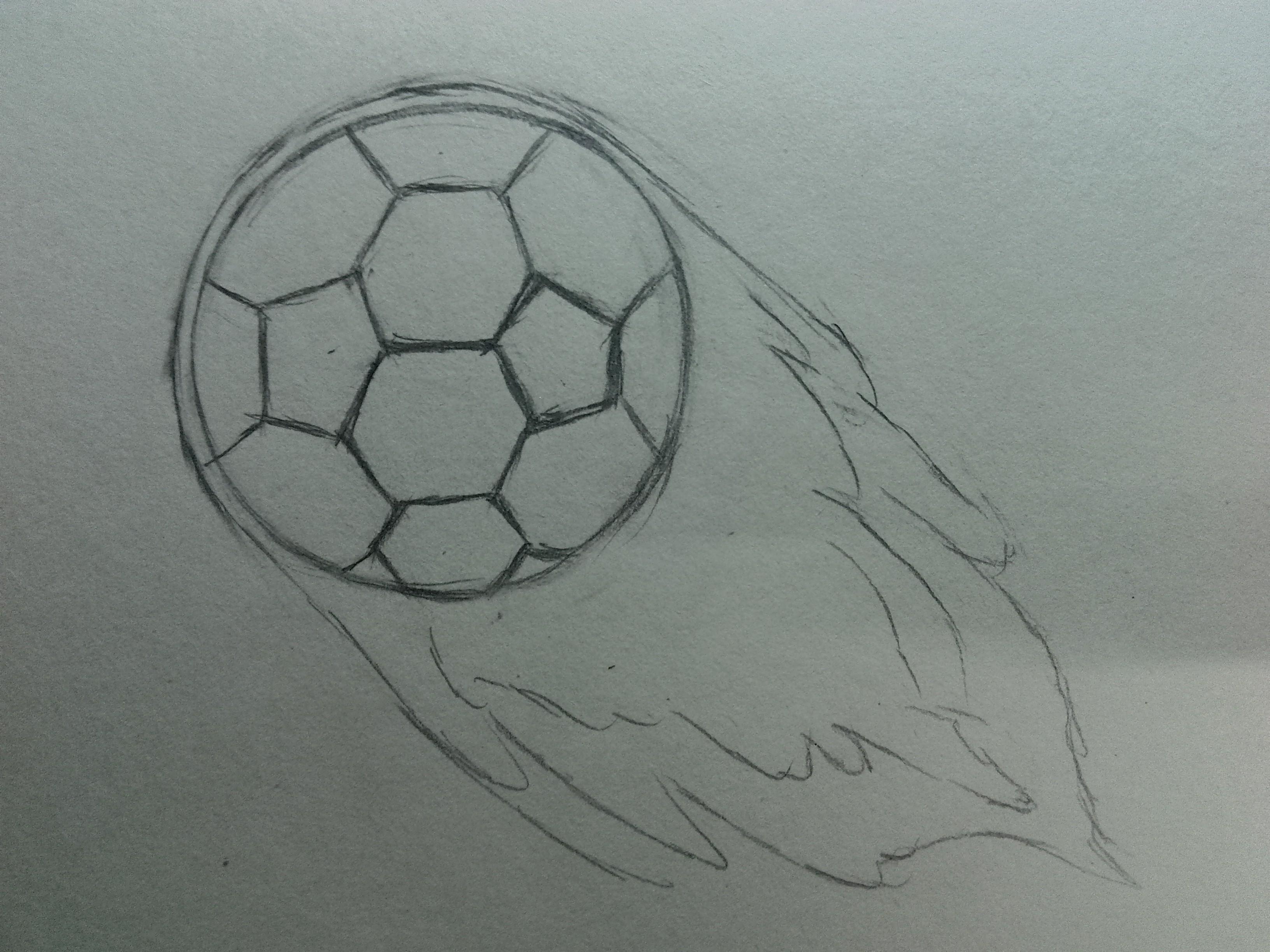 简易足球素描画步骤