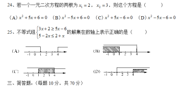 【中考复习】上海市八大名校初三数学基础复习(六)方程与不等式。。