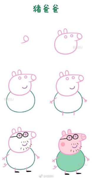 【迷之简笔画】小猪佩奇的一家④