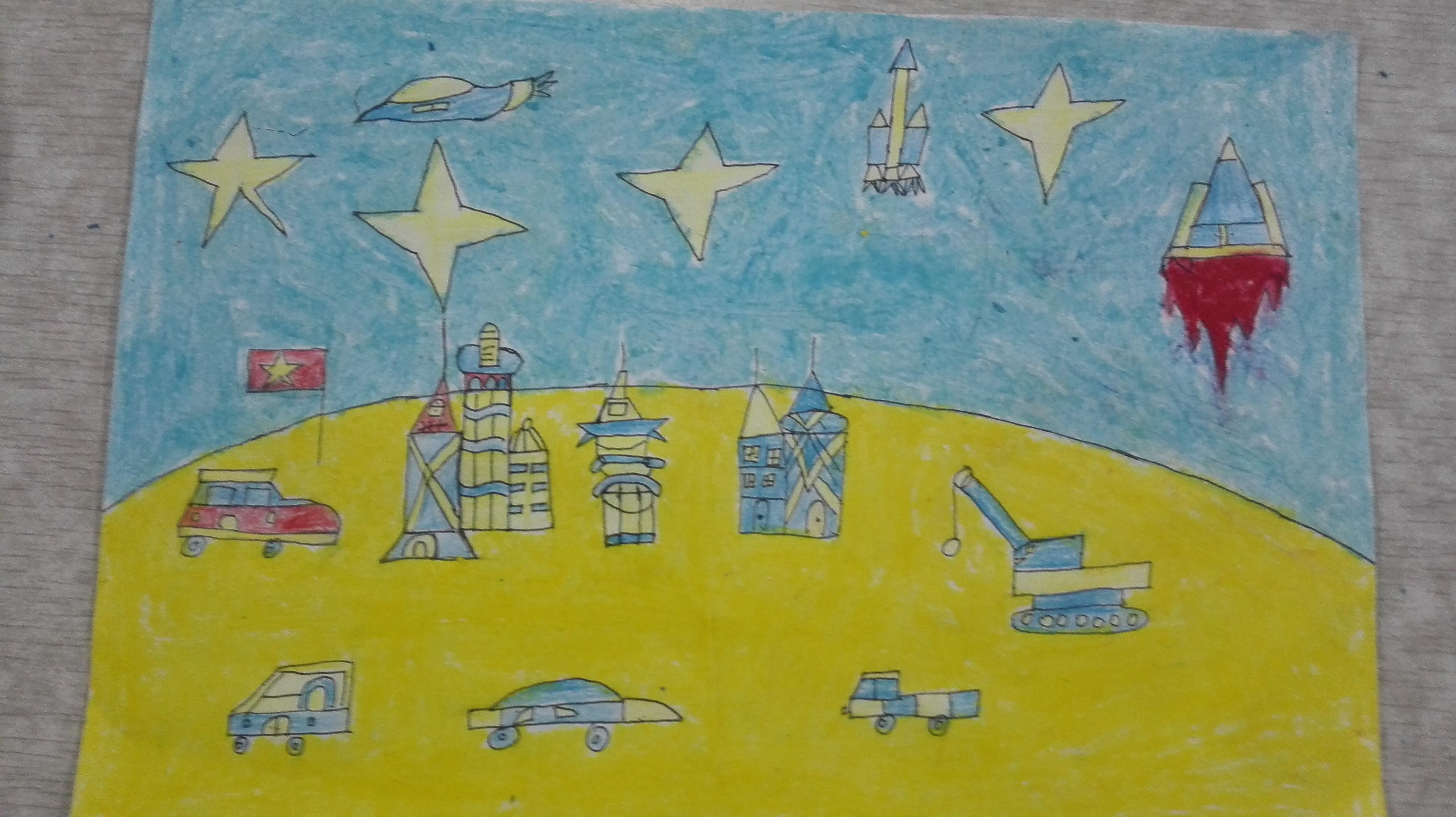 民族小学四年级美术作品图片_美丽乡村小学