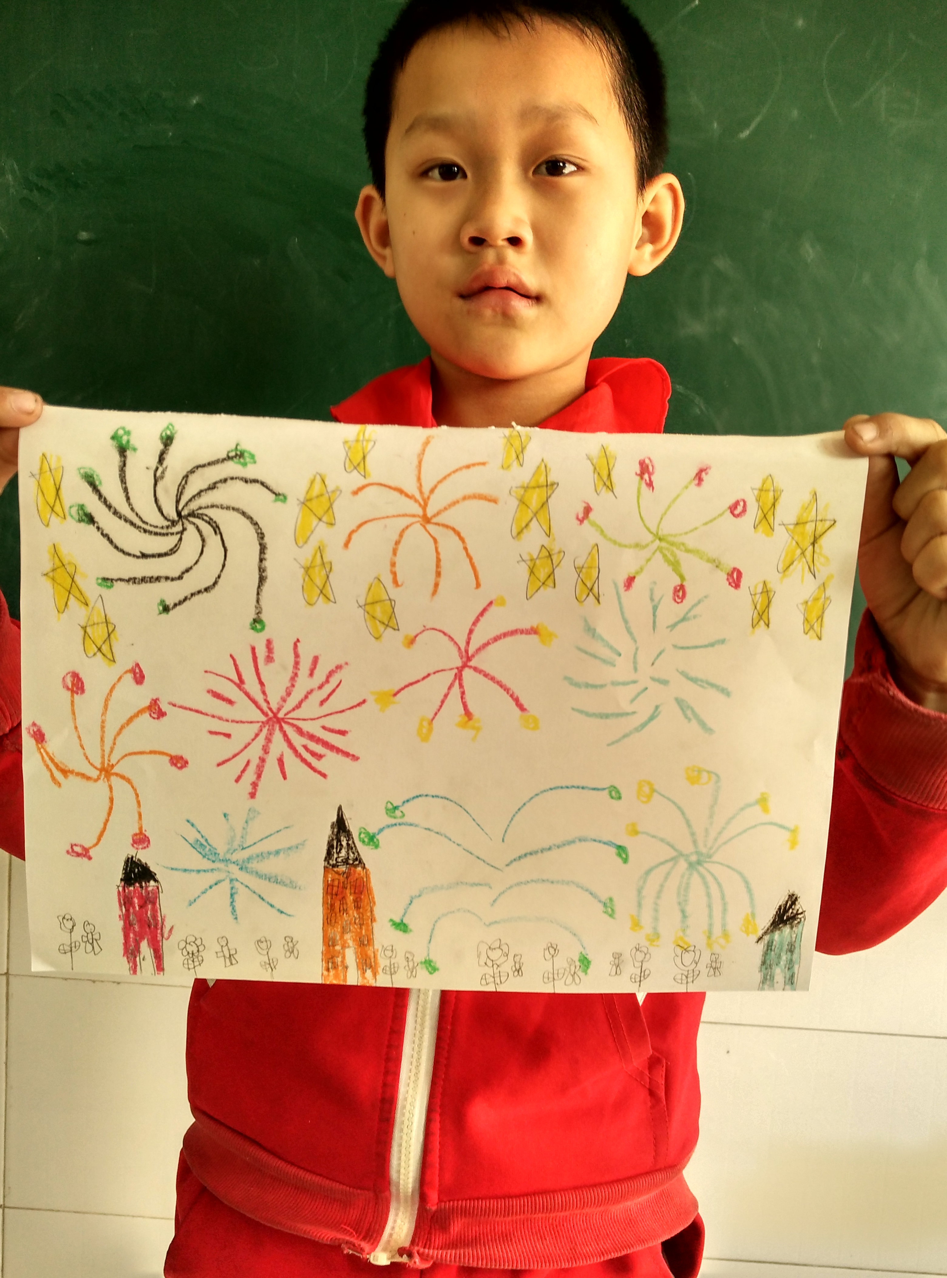 二五彩美术课图片的小学烟花_美丽小学乡村_年级西丰图片