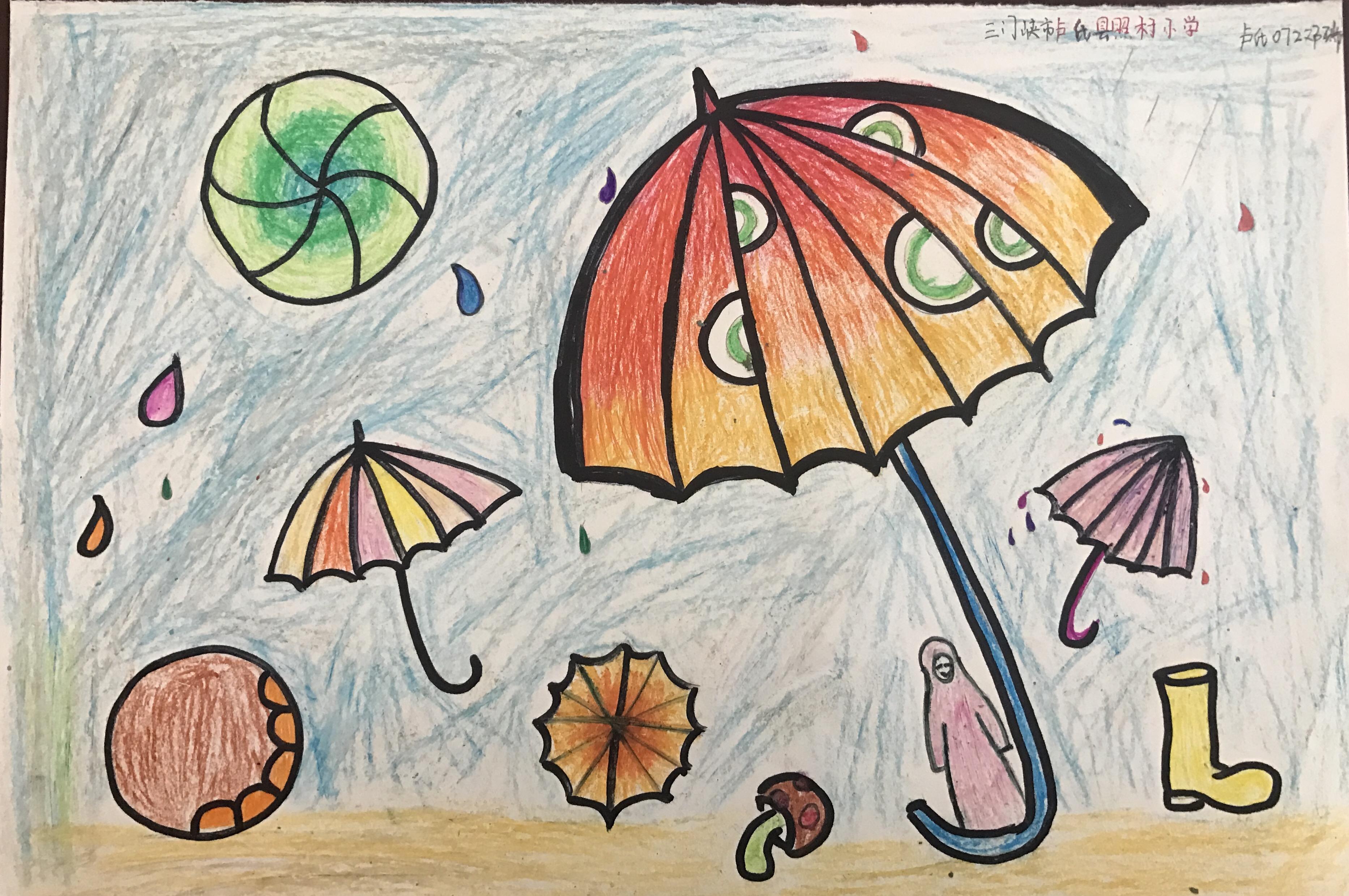 小时候总用铅笔画,现在接触小学生才发现,简笔画加上蜡笔染色也很漂亮