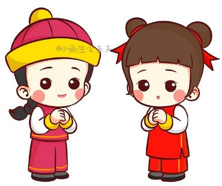 萌宝新春拜年简笔画