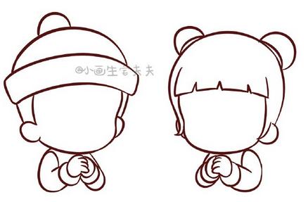 【迷之简笔画】萌宝新春拜年简笔画
