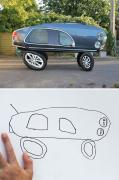 当这老爹把6岁儿子的简笔画P成现实版