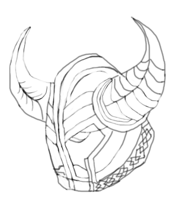 手绘藏族头盔侧面
