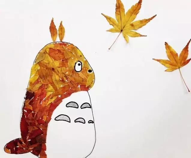 龙猫打树叶简笔画步骤