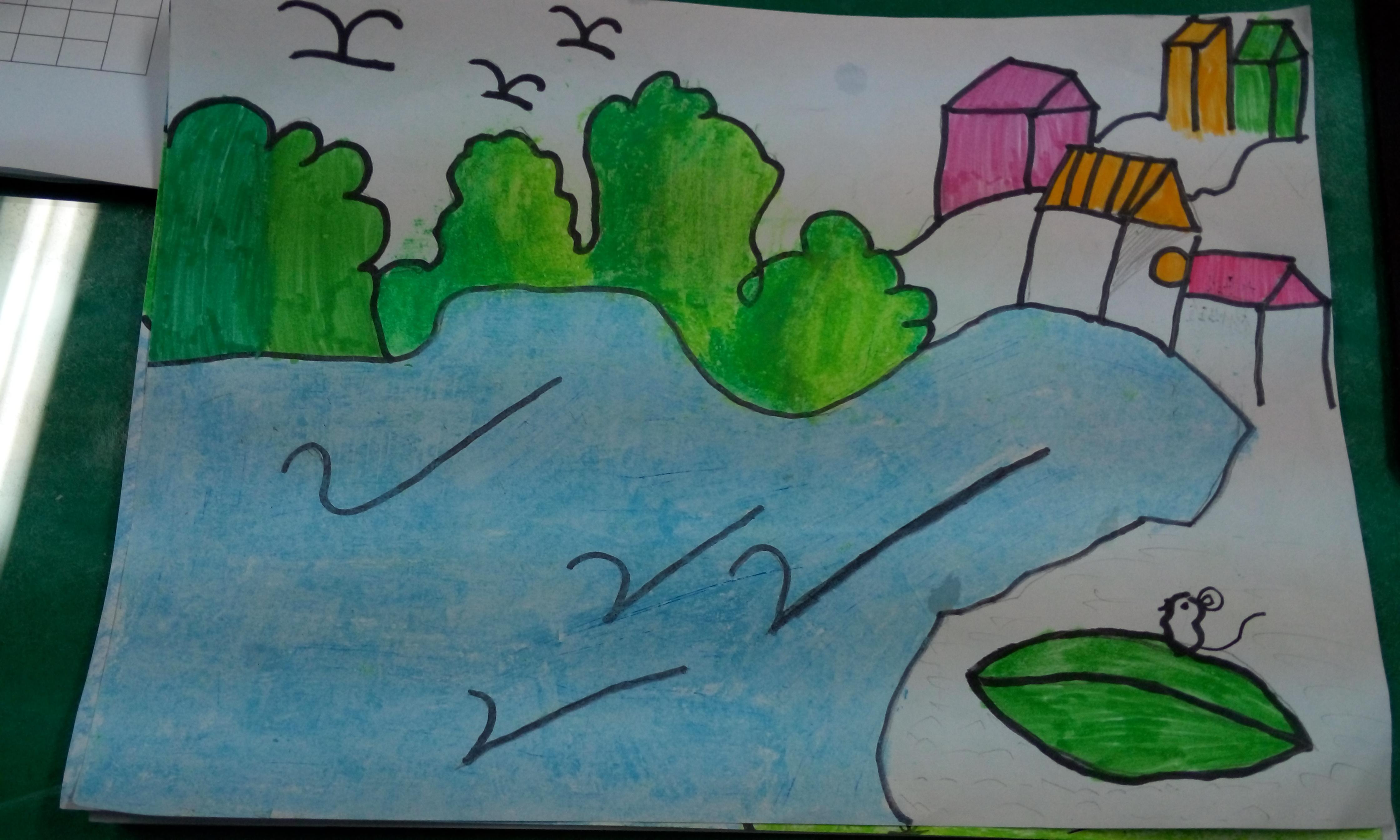 高川乡小学五六年级美术风景写生