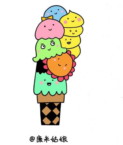 甜筒冰淇淋简笔画 - 甜筒冰淇淋简笔画