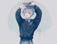 #日系蓝男图#